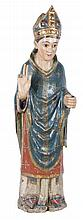Bishop.  Carved polychrome wood sculpture.  Romanesque.  13th century.