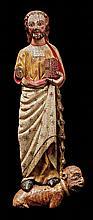 Saint Bartholomew.  Carved polychrome wood sculpture.  Romanesque.  13th century.