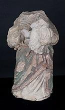 Incomplete carved stone sculpture with polychrome residue, representing the Virgin and Child.  15th-16th century.