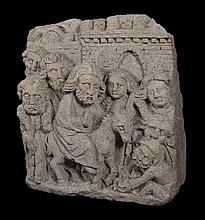 Entry into Jerusalem.  Sculpted stone relief.  Castilian School.  Possibly from Leon.  14th – 15th century.  Sculpture