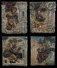The Four Evangelists.  Group of four carved polychrome and gilt wooden reliefs.  Late 16th century European School.  Sculpture