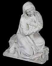Annunciation.  Marble sculpture.  17th-18th century Italian School.