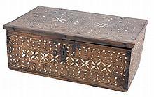 Walnut Mudejar box with bone marquetry.  Aragón.  Circa 1600.