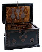An important walnut chest, with marquetry and ironwork.  Friuli Venecia Julia. Italy. Circa 1500.