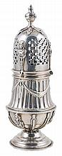 Imposing engraved and embossed silver sugar bowl.  18th century.  With hallmarks from Amsterdam 1700.