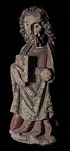 Apostle.  Imposing carved, polychrome stone sculpture.  Castilian School.  Possibly from Leon. 14th – 15th century.