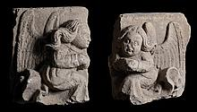 Angels. Pair of sculpted stone reliefs.  Castilian School.  Possibly from Leon.  14th – 15th century.  Sculpture