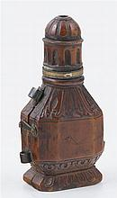 Small metal flask with its original carved rosewood case.  Colonial.  17th century.