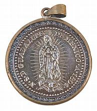 Silver medal of the Virgin of Guadalupe.  Dated 1804. Colonial