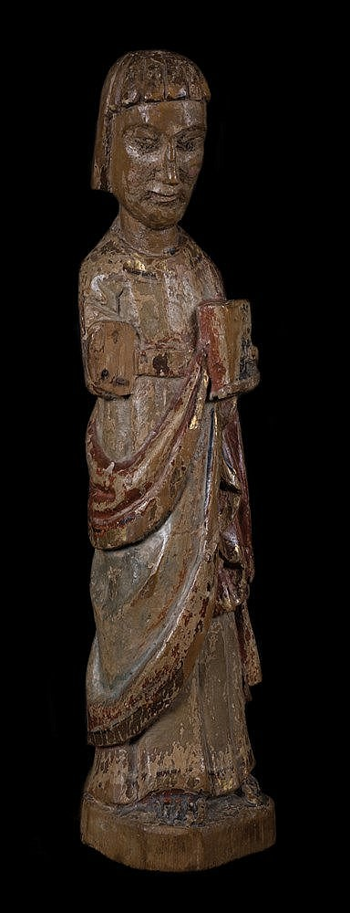 Saint John the Evangelist.  Carved polychrome wooden sculpture.  Romanesque