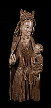 Virgin and Child.  Carved wooden gilt and polychrome sculpture.  Circa 1275