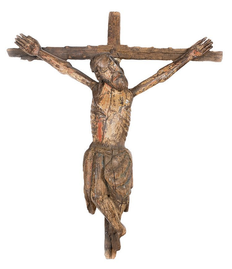 Carved wooden polychrome figure of crucified christ. castilian school. tran