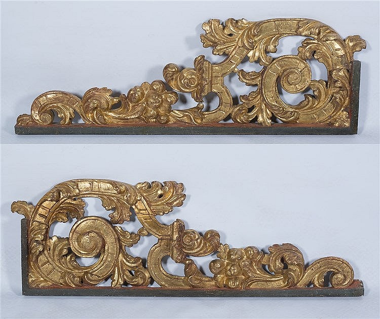 Pair of imposing carved and gilded wooden consoles.  Baroque.  17th century