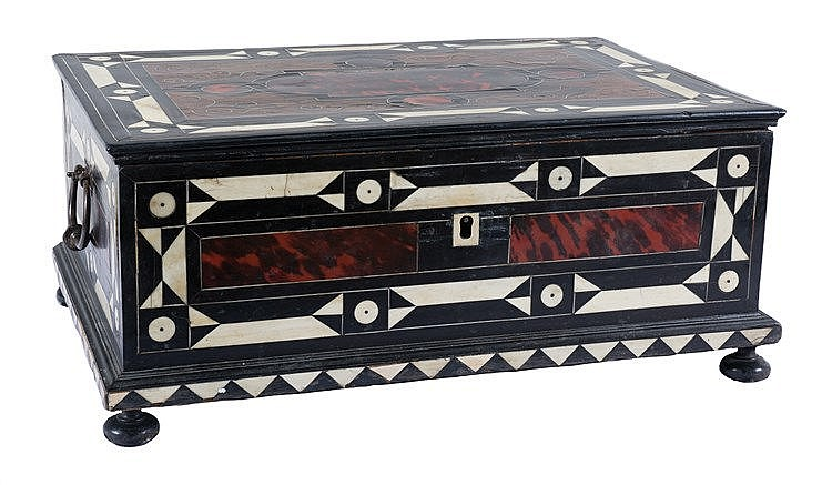 Ebony, tortoiseshell and ivory writing chest with wrought iron handles. 17