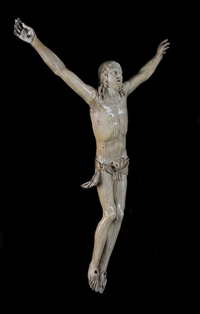 Crucified Christ.  Ivory sculpture.  17th century. One foot, one hand,