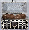 Magnificent carved wooden box, covered with ebony and ivory plaques.  Mexic