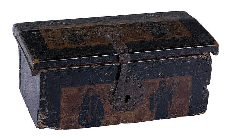 Pasto varnish wooden box. Colombia. 17th century. The box has its ori