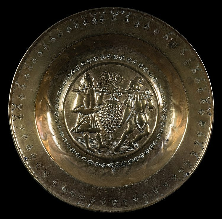 A brass alm dish.  German. Nuremberg.  Circa 1550. Centre decorated wi