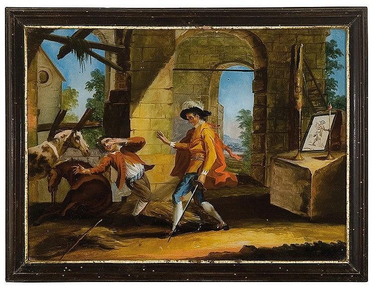 German reverse glass painting. 18th century  27 x 37 cm.