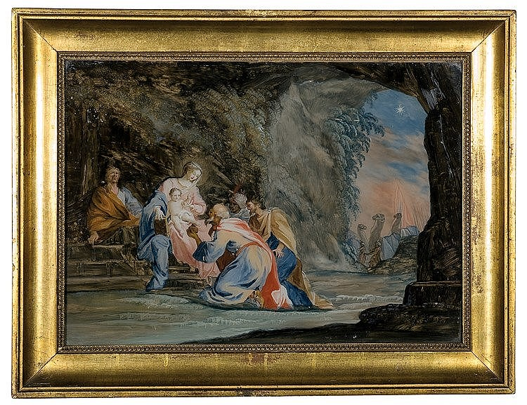 Italian reverse glass painting. 18th century.  30 x 41 cm.