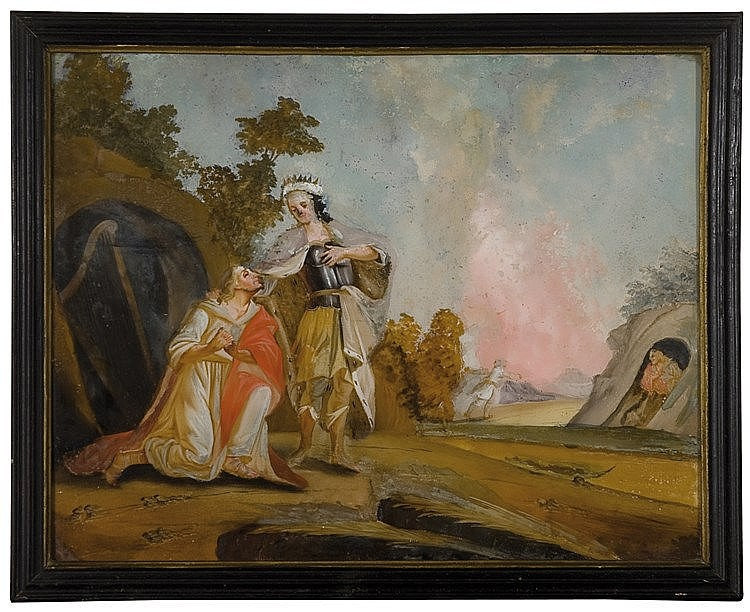 German reverse glass painting. 18th century  34 x 43 cm.