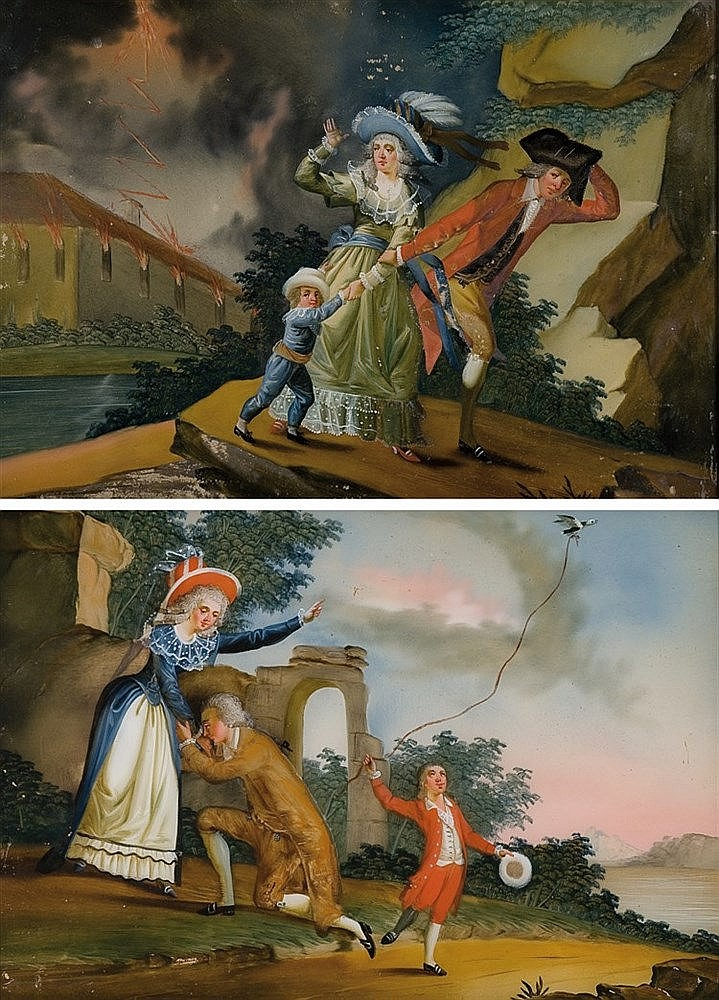 A pair of French reverse glass painting. 18th century 25 x 36 cm. each one
