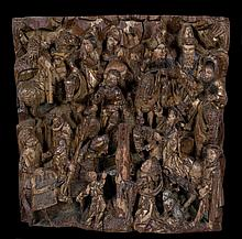 Magnificent carved, polychrome and gilt oak relief.  Flemish School.  Meche