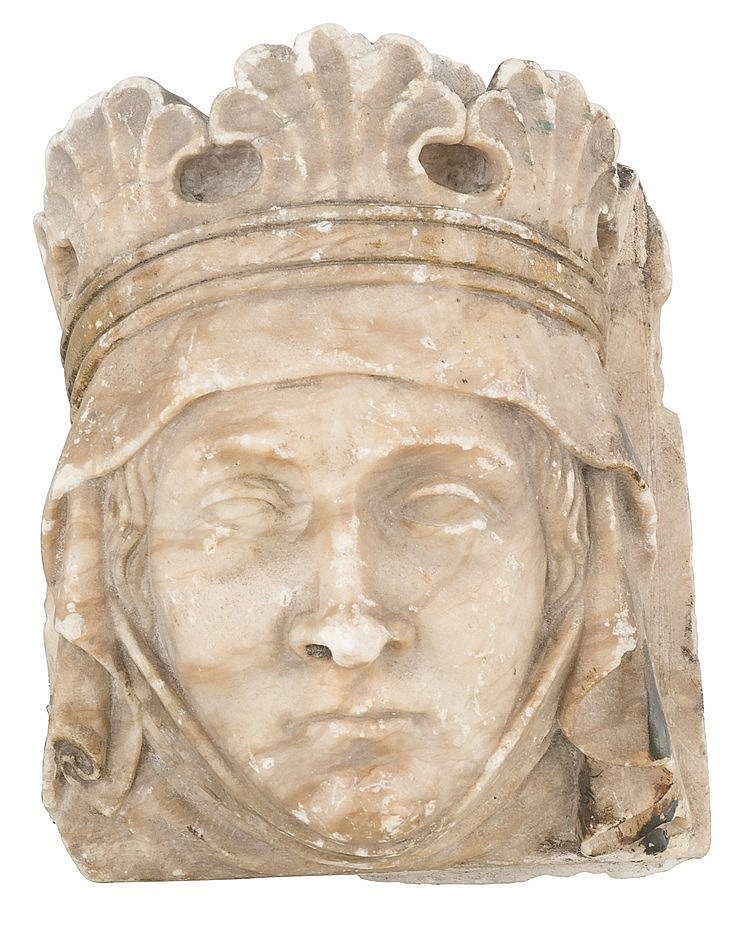 Sculpted marble Head of a Queen.  Light polychrome and gilt residue.  Gothi