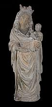 Virgin with Child.  Limestone sculpture with polychrome residue.  Bourgogne