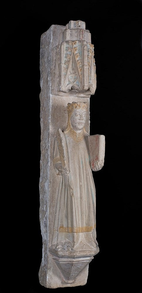 Saint.  Large Stone sculpture, with polychrome residue.  Gothic.  14th cent