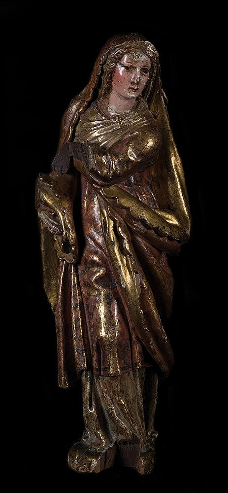 Carved gilt and polychrome wooden sculpture. Renaissance. 16th century.
