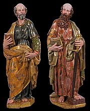 Saint Peter and Saint Paul.  Pair of gilt and polychrome wooden sculpture.