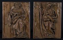 Saint Peter and Saint Paul.  Pair of carved wooden reliefs. 16th century.