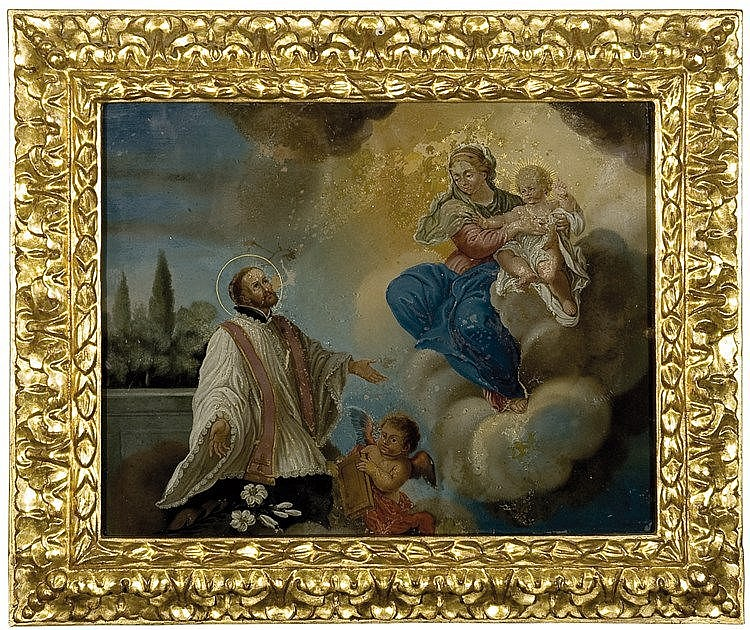 Italian reverse glass painting. 18th century  28 x 36 cm.