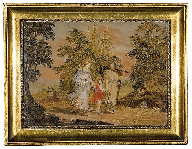 Italian reverse glass painting. 18th century. 27,5 x 38,5 cm.