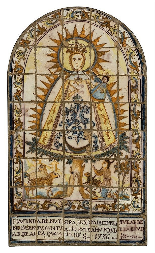 Devotional panel of forty-three glazed ceramic tiles.  Triana.  Dated 1786.