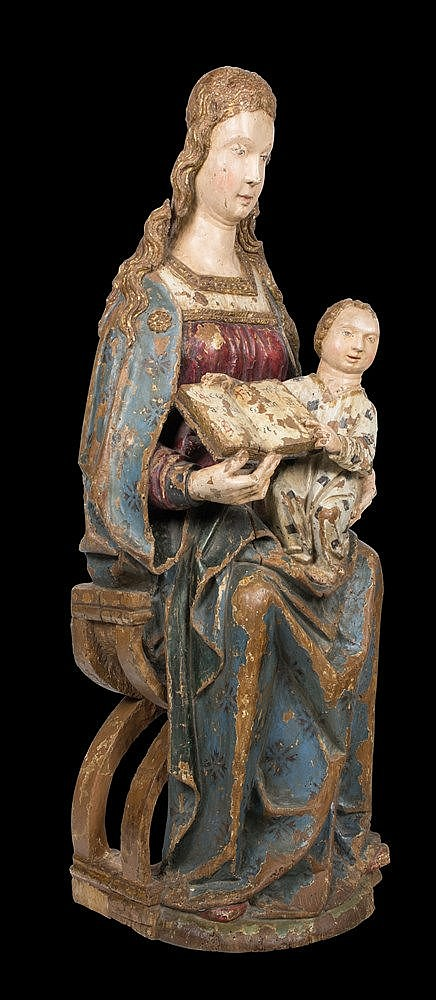 Virgin and Child in Majesty (Sede Sapientiae). Carved polychrome and gilt w