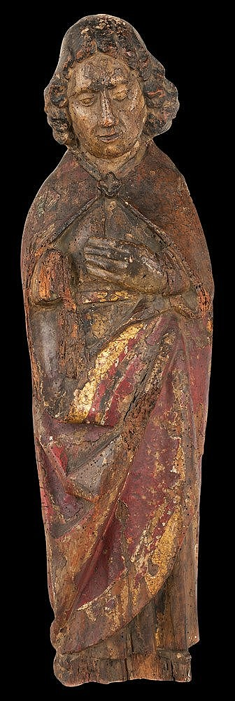 Apostle. Carved wooden sculpture with remains of gilt and polychrome. Germa
