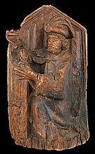 Evangelist or Doctor of the church. Carved wooden sculpture. Gothic. Hispan