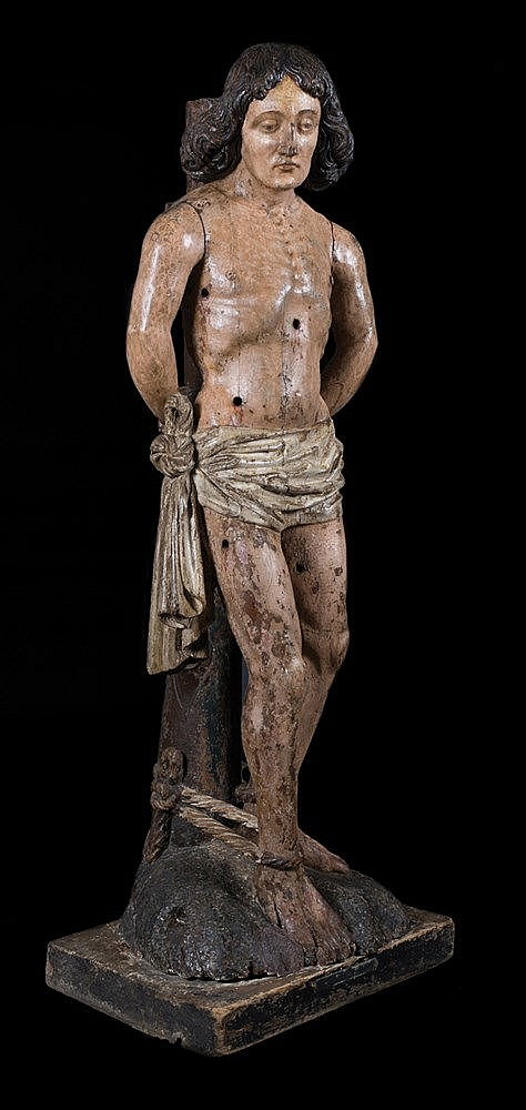 Saint Sebastian. Carved polychrome wooden sculpture. Duchy of Brabant. L