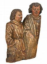 Fragment of an altarpiece representing two characters. Carved wooden gilt a