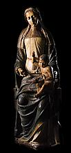 Virgin Mary seated with Christ Child. Carved, polychrome and gilt oak wood