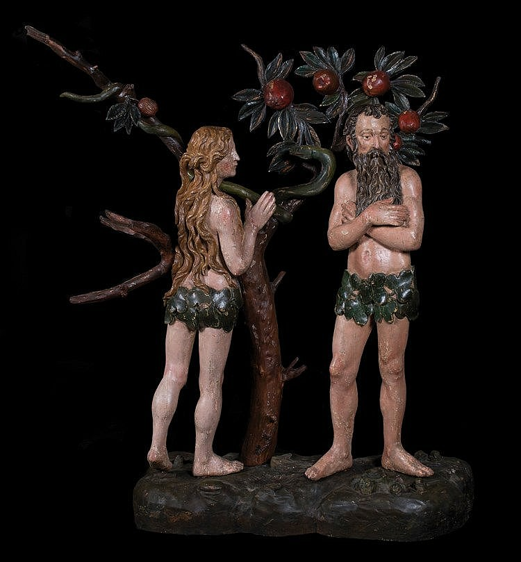 Adam and Eve. Carved polychrome wooden sculpted group. Hispanic Flemish.