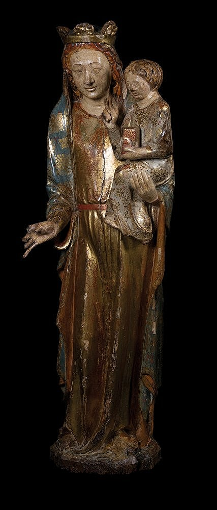 Virgin with Child.  Carved gilt and polychrome wooden sculpture.  Gothic.