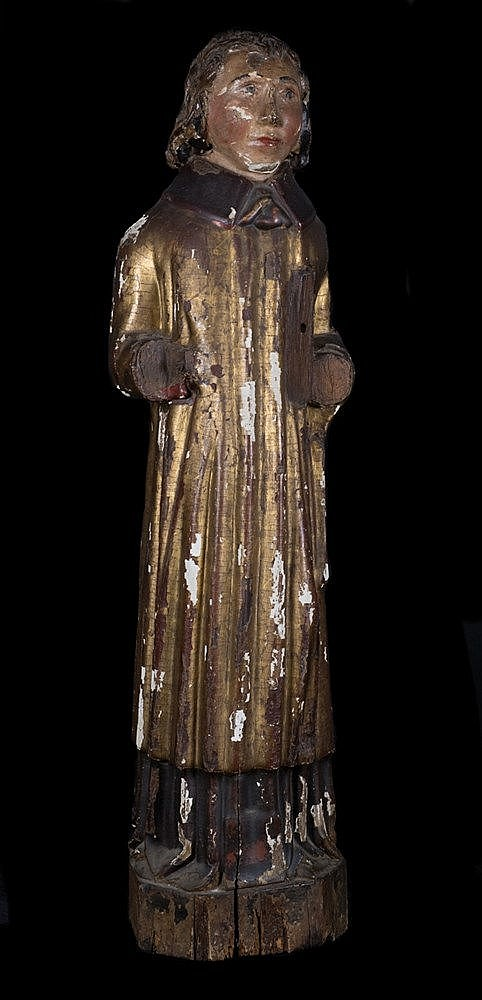 Deacon. Carved wood sculpture, polychromed and gilded. Gothic.Late of 14th