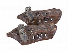Pair of carved wooden shoes.  Gothic.  Late 15th century.   Carved with Got