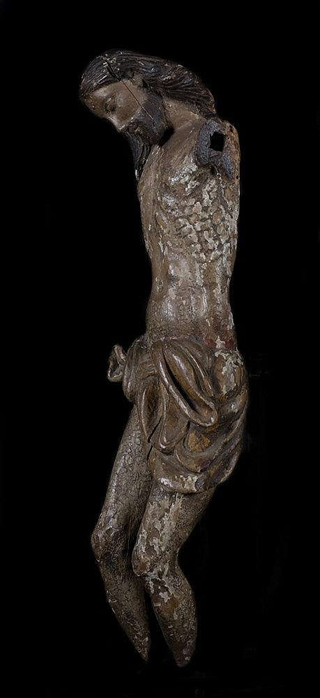 Crucified Christ.  16th century Hispanic Flemish School.  Carved gilt and p