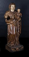 Virgin Mary and Child.  16th century Spanish School.  Carved gilt and polyc