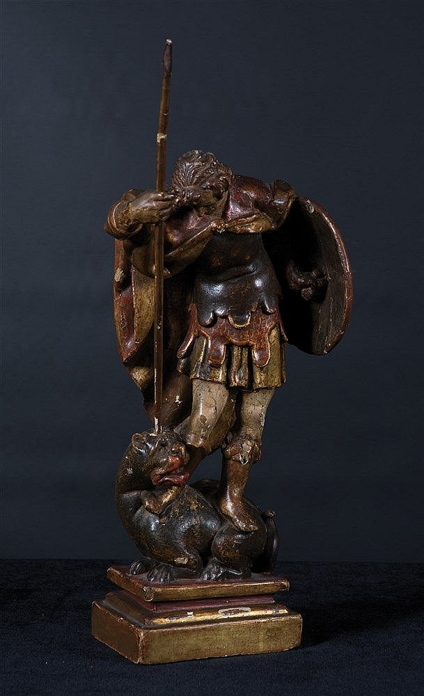 Saint George.  Carved polychrome wooden sculpture.  16th century.   Height: