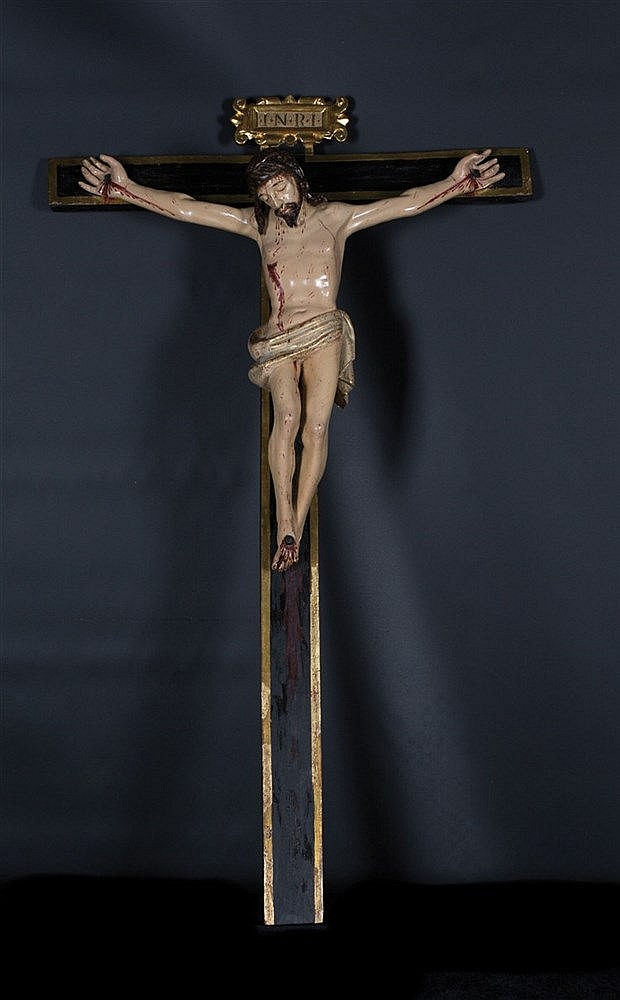 Crucified Christ.  Carved polychrome and gilt wooden sculpture.  Early 17th